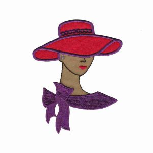 Tan Red Hat Lady with Sequined Hat Band Small