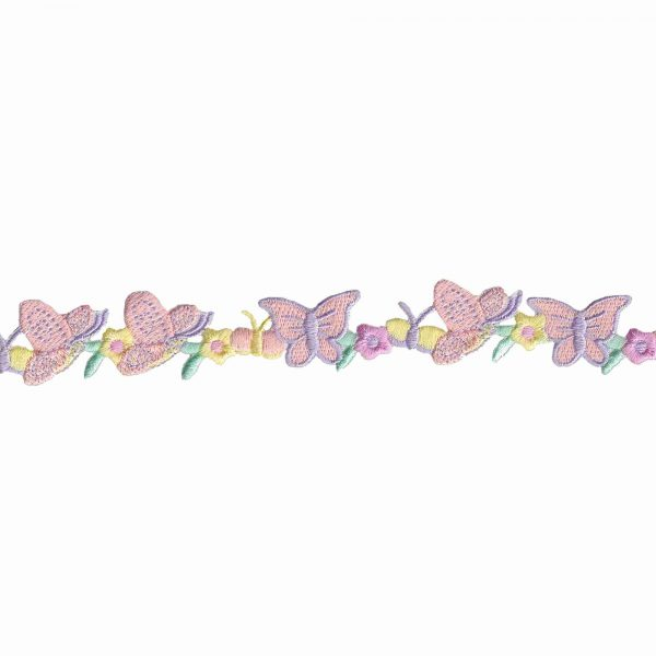 Butterfly And Flower Trim - Embroidered Decorative trim