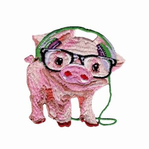Iron on Patch Pig Earphones | LaughingLizards.com