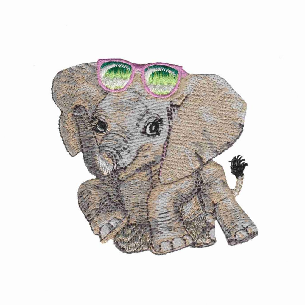 Cartoon Elephant Iron On Patch   Laughing Lizards