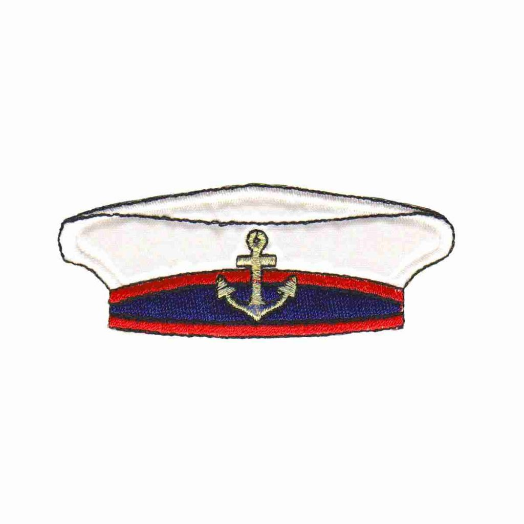 ID 2669 Captain Hat Patch Ship Sailor Cap Nautical Embroidered Iron On Applique