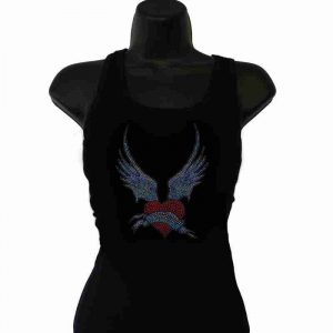 Winged Heart Rhinestone Tank Top