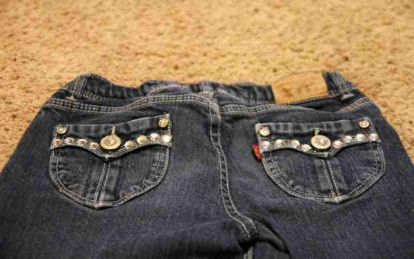 Jeans Decorated With Rhinestones