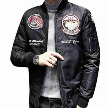 patched leather jacket for men