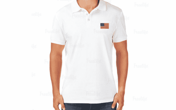 White Shirt With American Flag Patch