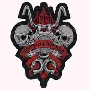 Live Free Ride Hard Motorcycle and Skull Iron On Patch