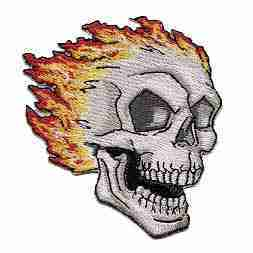 Flaming Skull Iron On Patch
