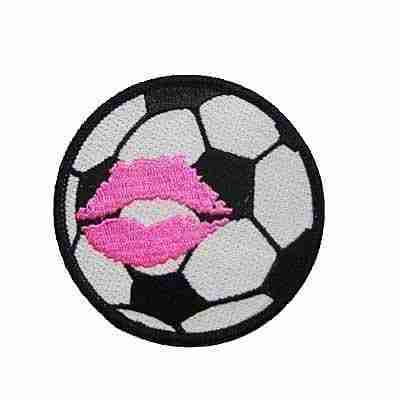 Large Soccerball Kiss 3″ Iron On Sports Patch Applique