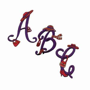 Red Hat Lady Iron On Embroidered Script Letter Initials/Monograms